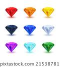 Set of bright shiny gemstone on white 21538781