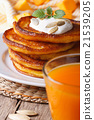 Pumpkin juice and pancakes with sour cream macro 21539205