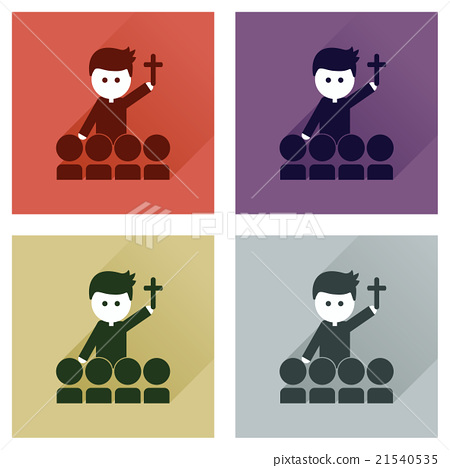 Stock Illustration: Concept of flat icons with long shadow Catholic