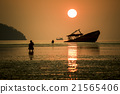sun rise and old boat 21565406