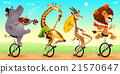 Funny wild animals on unicycles 21570647