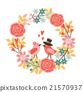 Cute wedding, spring card with birds and wreath 21570937