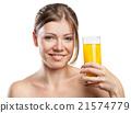 Young beautiful woman drinking orange juice 21574779