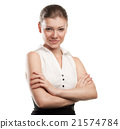 Happy young business woman with folded hand 21574784