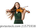 Beautiful young woman playing violin over white 21575938
