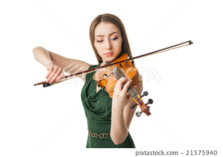 Beautiful young woman playing violin over white 21575940