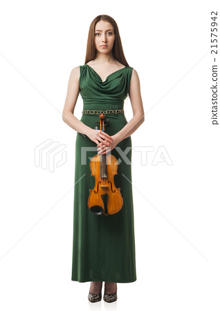 Beautiful young woman playing violin over white 21575942