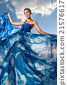 beauty woman in blue dress on the desert 21576617
