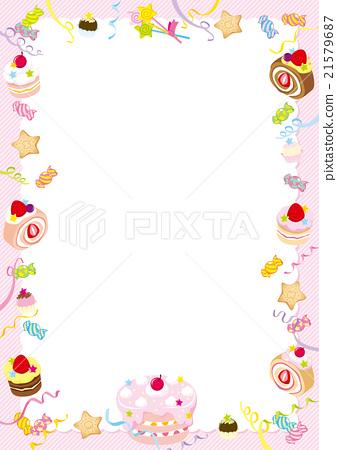 【구조】 스위트 케이크 핑크 스트라이프 세로 형 21579687