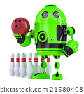Green Robot playing bowling. Isolated 21580408