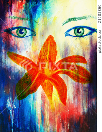 Woman Eyes With Flower Color Pencil Drawing Eye Stock Illustration 21583860 Pixta