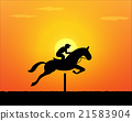 Horse Jumping in sunset time. vector 21583904