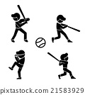Set of baseball icons in silhouette style, vector 21583929