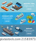 Ships Boats Vessels Isometric Banners Set  21583973