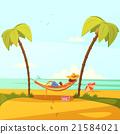 Man On The Beach Illustration 21584021