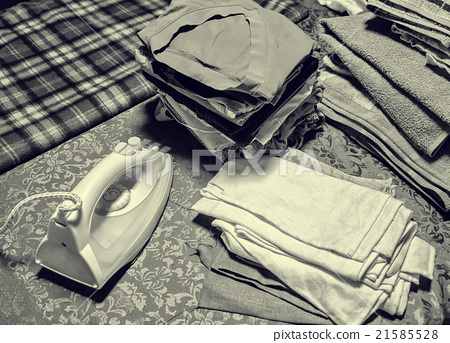 iron, underwear, black and white photo 21585528