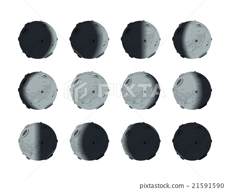 The whole cycle of moon phases from new to full on 21591590