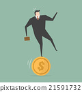 Businessman Stand On Coin 21591732