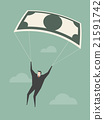Businessman Using Bank Note As a Parachute. 21591742