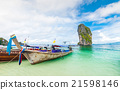 longtail boats and poda island in Thailand 21598146