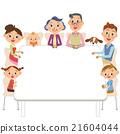 坐在桌上的三代家庭 21604044