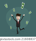 Happy young business man enjoying money rain. 21608837