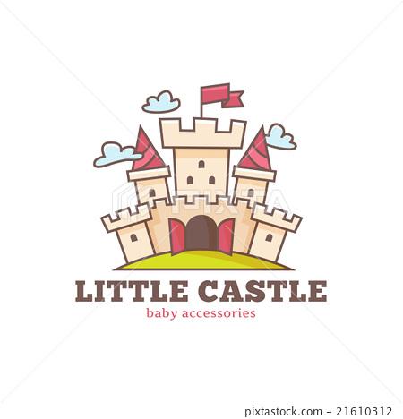 Vector cute little castle logo for baby shop. Kids 21610312