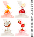 Banners with delicious fruit landing in a milk  21611640