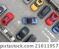 蓝鸟车停在鸟瞰停车位的停车位 21611957