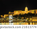 Chain bridge and royal palace in Budapest, Hungary 21613774