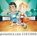 Kids playing basketball on indoor court. 21615668