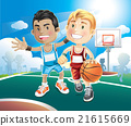 cl on outdoor court. vector illustration 21615669