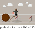 Business woman jumping over hurdle with the weight 21619035