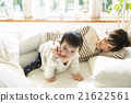 床 親子 父母和小孩 21622561