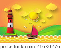lighthouse with seascape and sun set 21630276