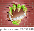 Claw Football Ball Breaking Through Brick Wall 21636980