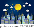 Full Moon And Night Sky 21637987