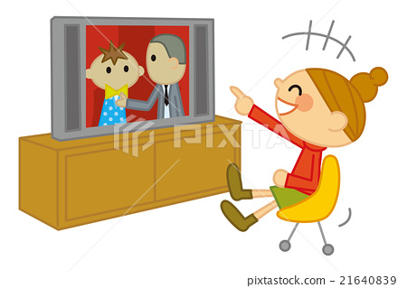 A woman who laughs at watching TV 21640839