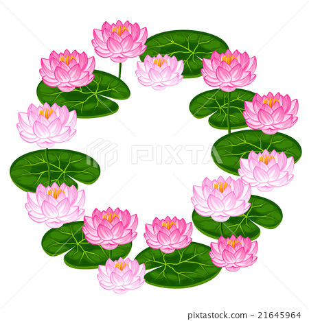 Natural frame with lotus flowers and leaves. Image 21645964