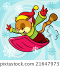 cat cartoon bobsledding 21647973