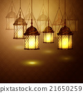 Intricate Arabic lamps with lights  21650259