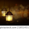 Intricate Arabic lamps with lights  21651431