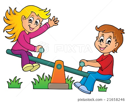 Children on seesaw theme image 1 21658246