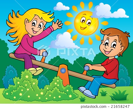 Children on seesaw theme image 2 21658247
