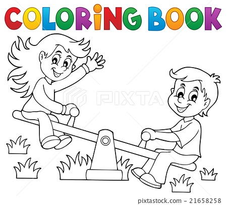 Coloring book children on seesaw theme 1 21658258
