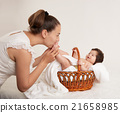 mother and baby portrait on white, health family and care concept 21658985