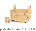 Wooden bucket and dipper isolated on white backgro 21659938