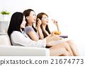 happy young women watching smart phone  21674773