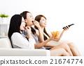 happy young women watching smart phone  21674774