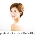 closeup beautiful young smiling  woman  face 21677403